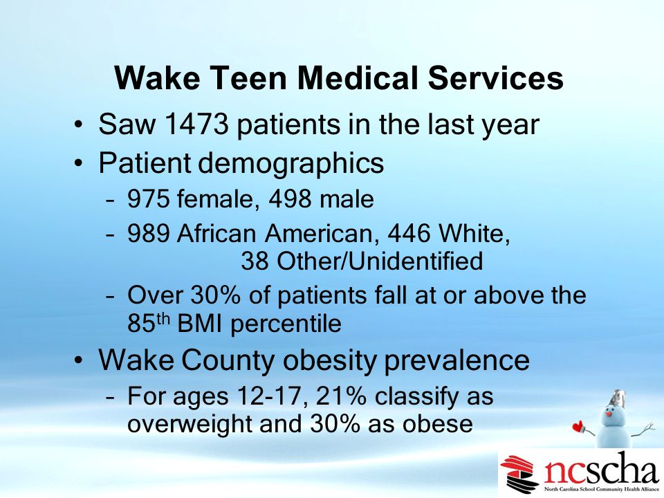 Wake Teen Medical Services Wake Teen Medical Services is a non-profit medical service provider for adolescents through young adults ages 10 to 23 Services include: –Primary health care –Mental health care –Health education –Nutrition counseling