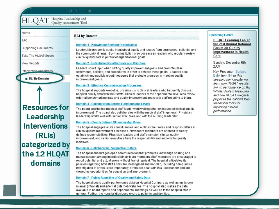 Resources for Leadership Interventions (RLIs) categorized by the 12 HLQAT domains