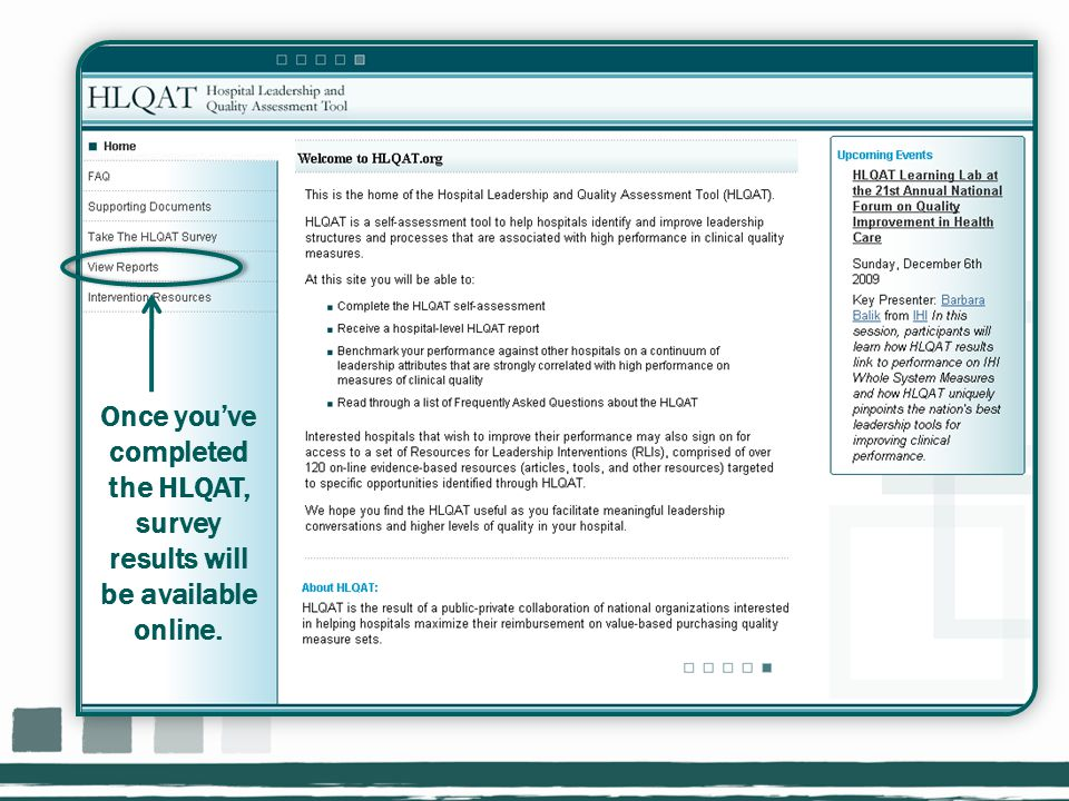 Once you've completed the HLQAT, survey results will be available online.
