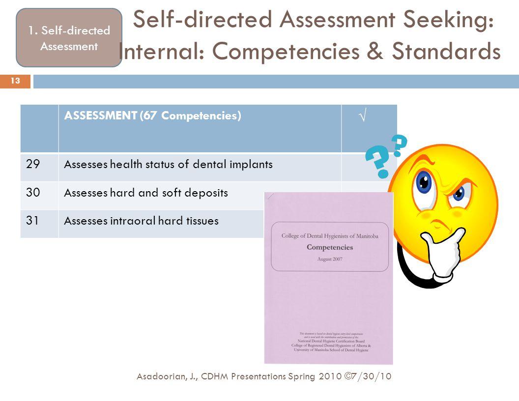 1. Self-directed Assessment Self-directed Assessment Seeking: Internal: Competencies & Standards ASSESSMENT (67 Competencies) √ 29Assesses health stat