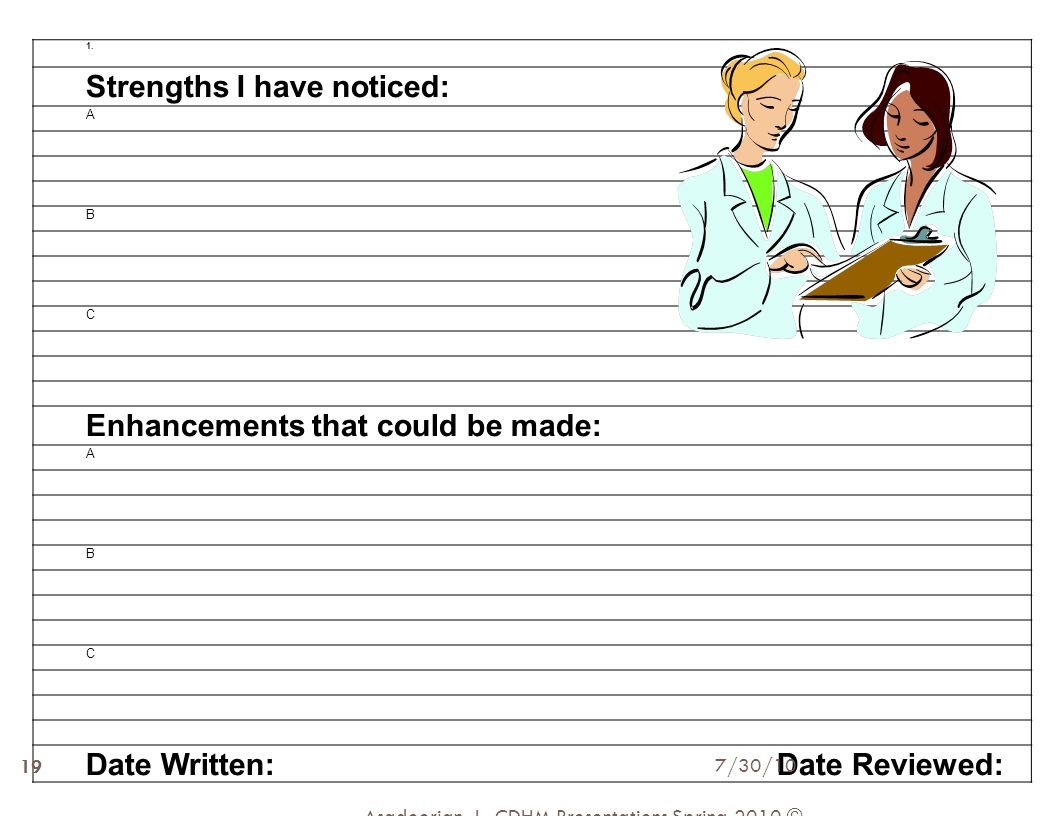 1. Strengths I have noticed: A B C Enhancements that could be made: A B C Date Written: Date Reviewed: Asadoorian, J., CDHM Presentations Spring 2010
