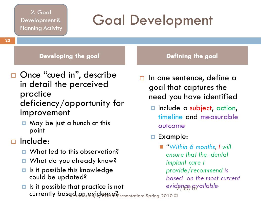 """Goal Development  Once """"cued in"""", describe in detail the perceived practice deficiency/opportunity for improvement  May be just a hunch at this poin"""