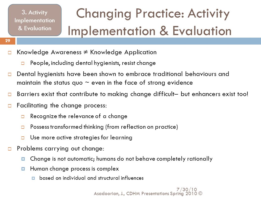 Changing Practice: Activity Implementation & Evaluation 3. Activity Implementation & Evaluation  Knowledge Awareness ≠ Knowledge Application  People