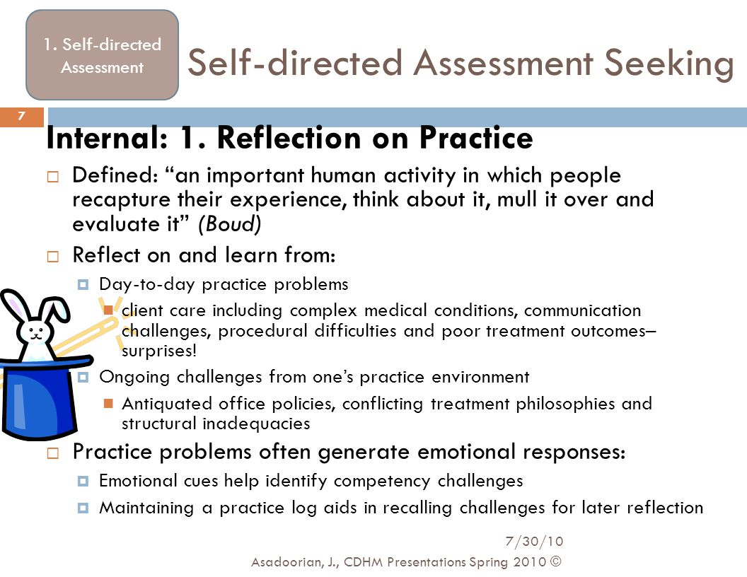 """Self-directed Assessment Seeking Internal: 1. Reflection on Practice  Defined: """"an important human activity in which people recapture their experienc"""