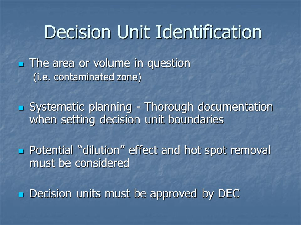 Decision Unit Identification The area or volume in question The area or volume in question (i.e.