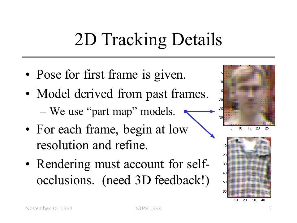 "November 30, 1999NIPS 19997 2D Tracking Details Pose for first frame is given. Model derived from past frames. –We use ""part map"" models. For each fra"