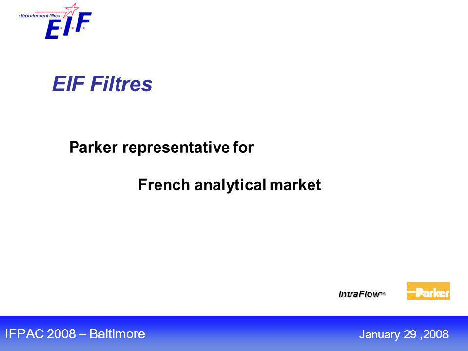 EIF Filtres Parker representative for French analytical market IntraFlow ™ IFPAC 2008 – Baltimore January 29,2008