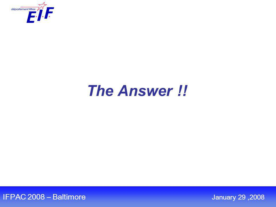 The Answer !! IFPAC 2008 – Baltimore January 29,2008