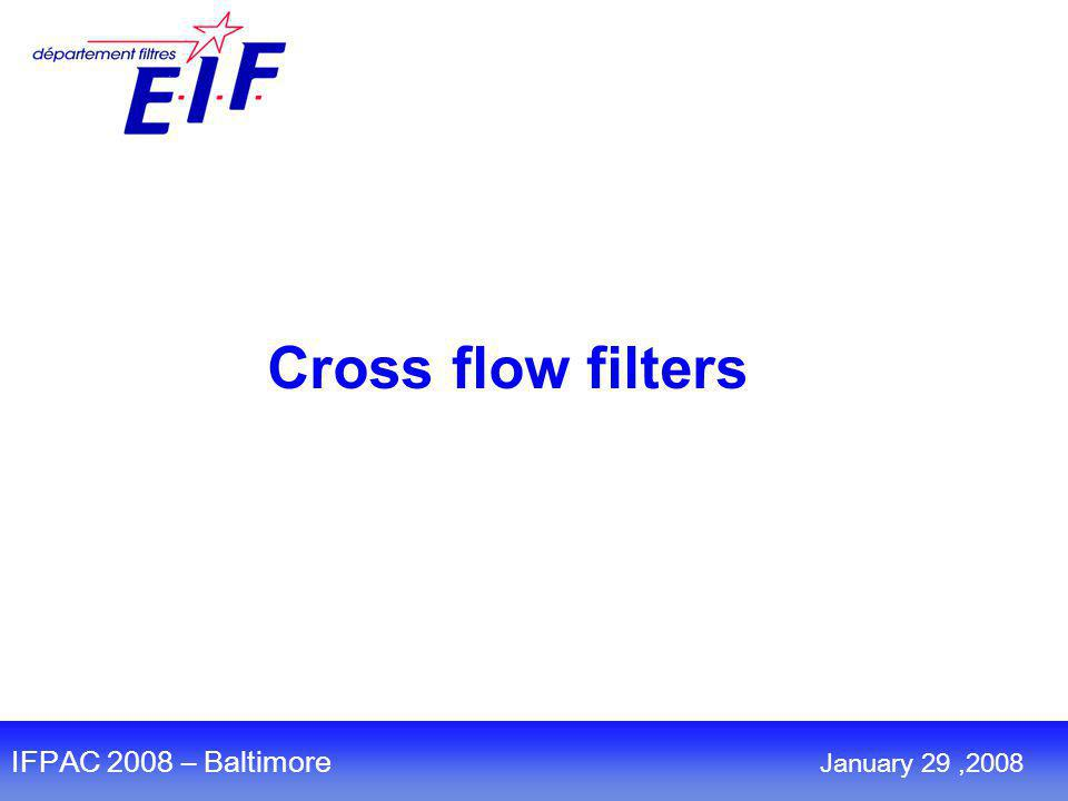 Cross flow filters IFPAC 2008 – Baltimore January 29,2008