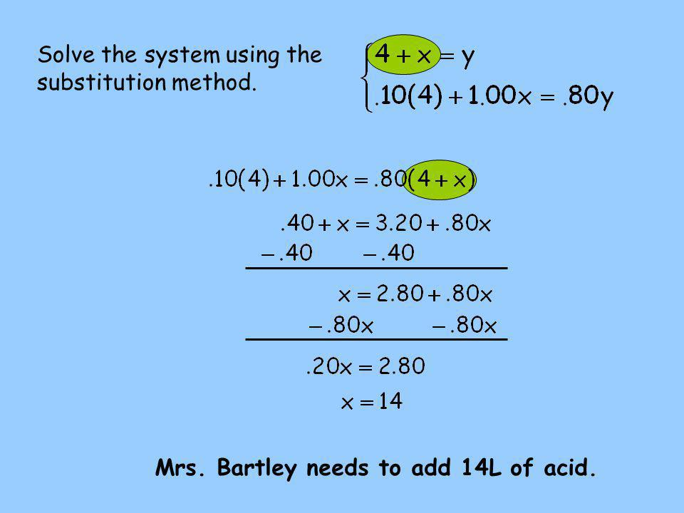 Solve the system using the substitution method. Mrs. Bartley needs to add 14L of acid.