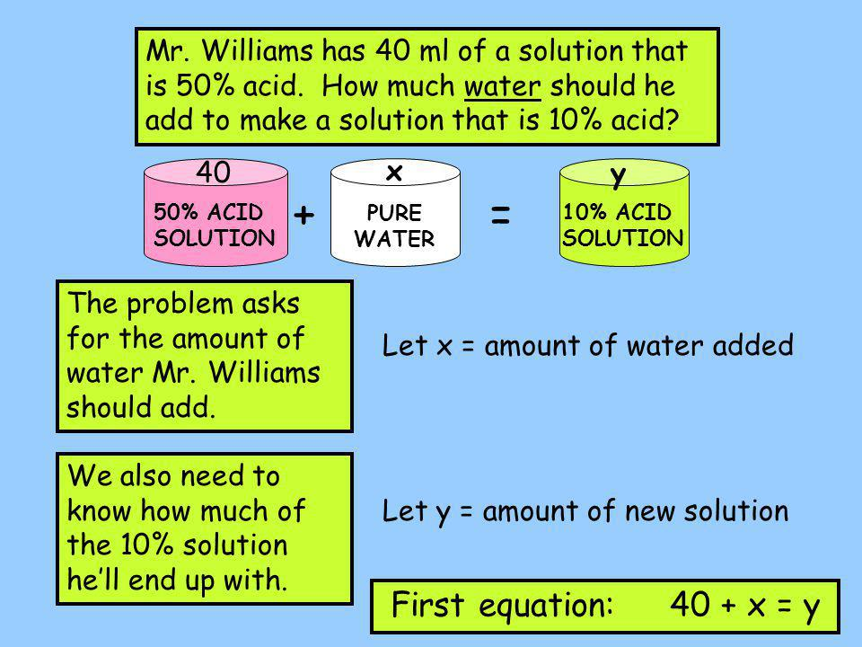 Mr. Williams has 40 ml of a solution that is 50% acid.