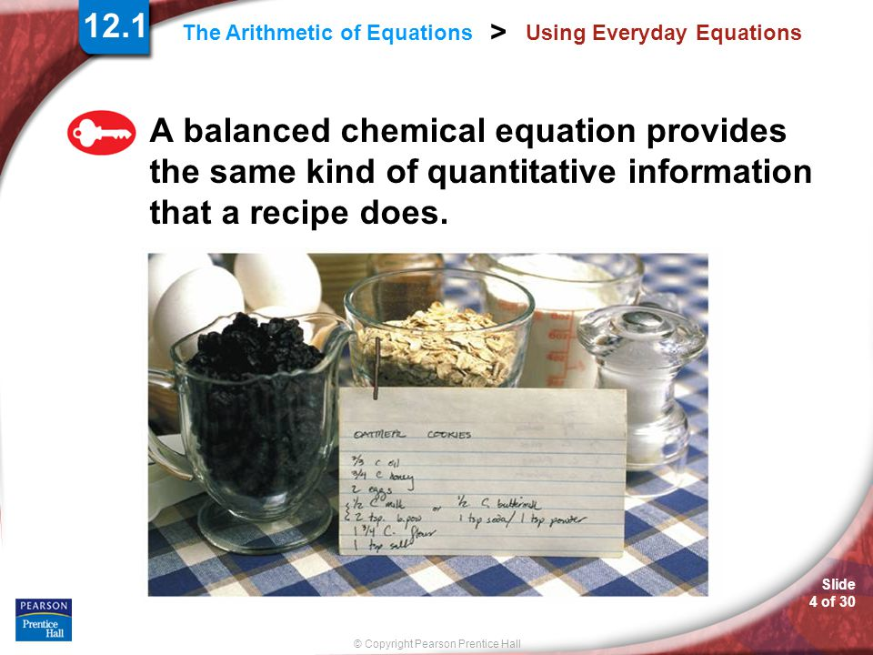 Slide 4 of 30 © Copyright Pearson Prentice Hall > The Arithmetic of Equations Using Everyday Equations A balanced chemical equation provides the same kind of quantitative information that a recipe does.