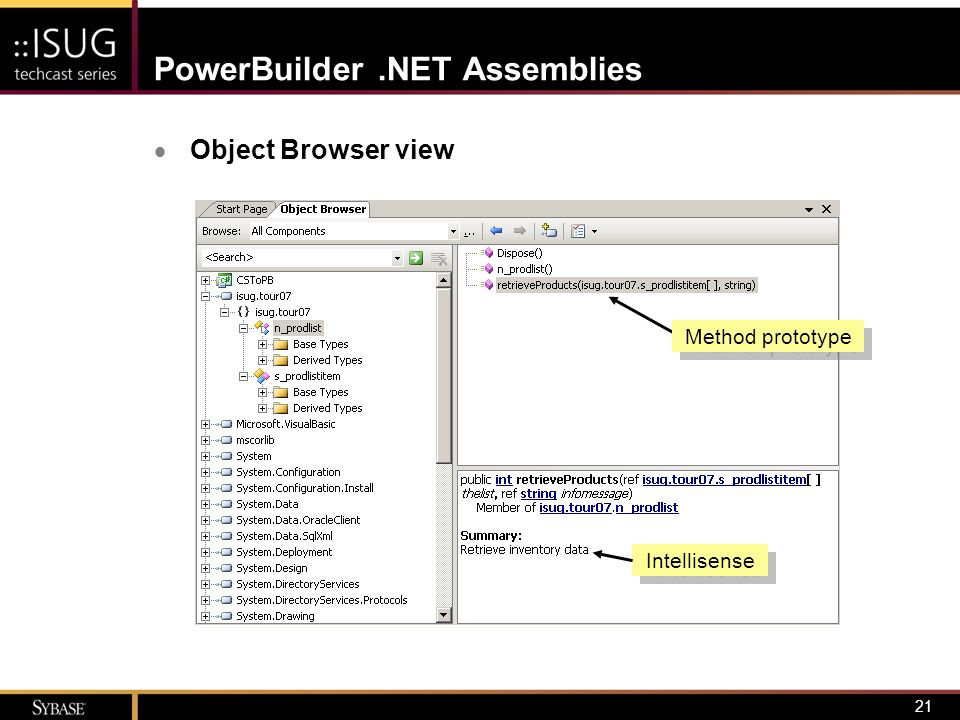 21 PowerBuilder.NET Assemblies  Object Browser view Intellisense Method prototype