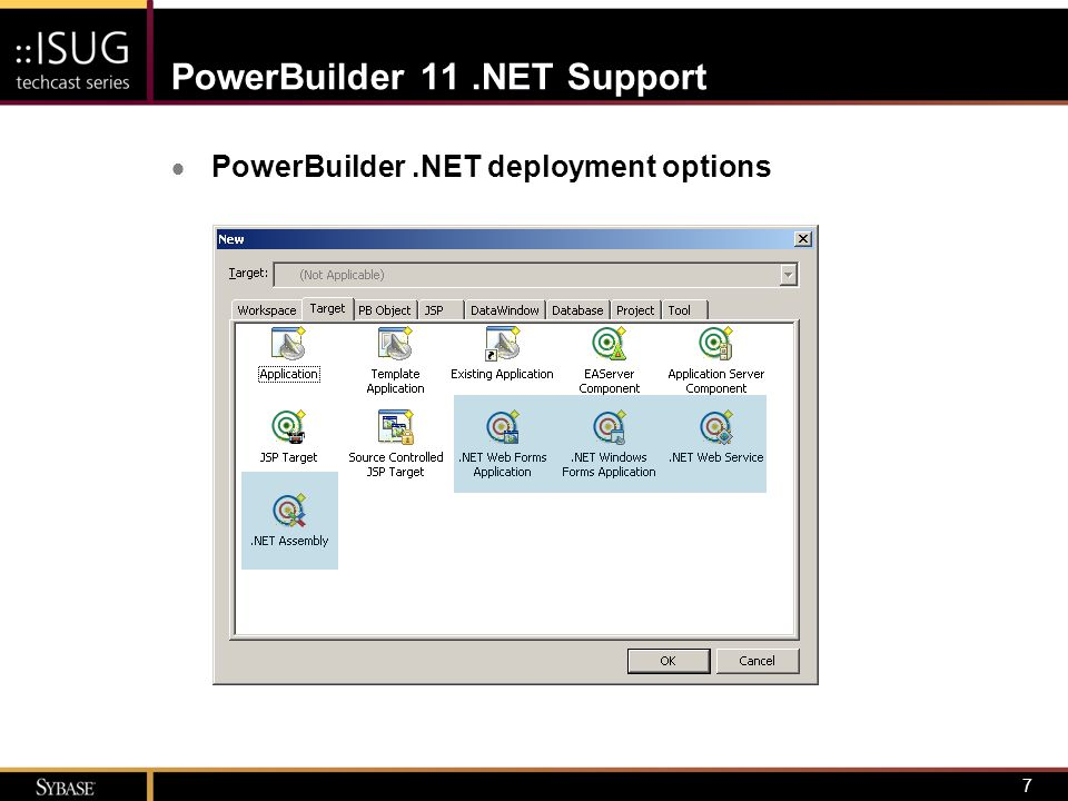 7 PowerBuilder 11.NET Support  PowerBuilder.NET deployment options