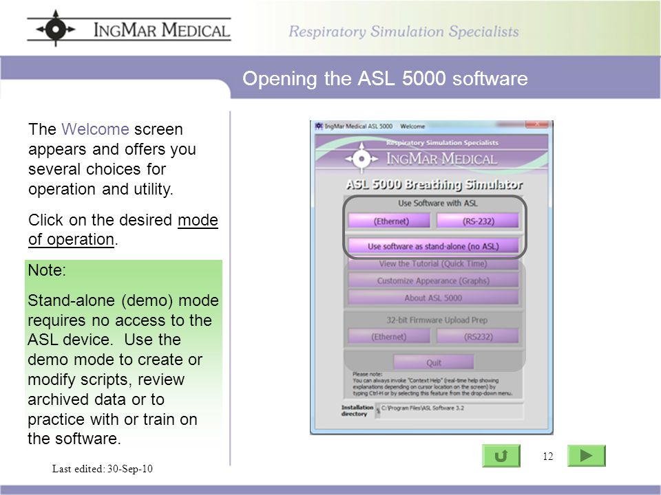 12 Go to ASL Last edited: 30-Sep-10 12 The Welcome screen appears and offers you several choices for operation and utility.
