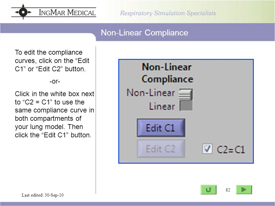 82 Go to ASL Last edited: 30-Sep-10 82 To edit the compliance curves, click on the Edit C1 or Edit C2 button.