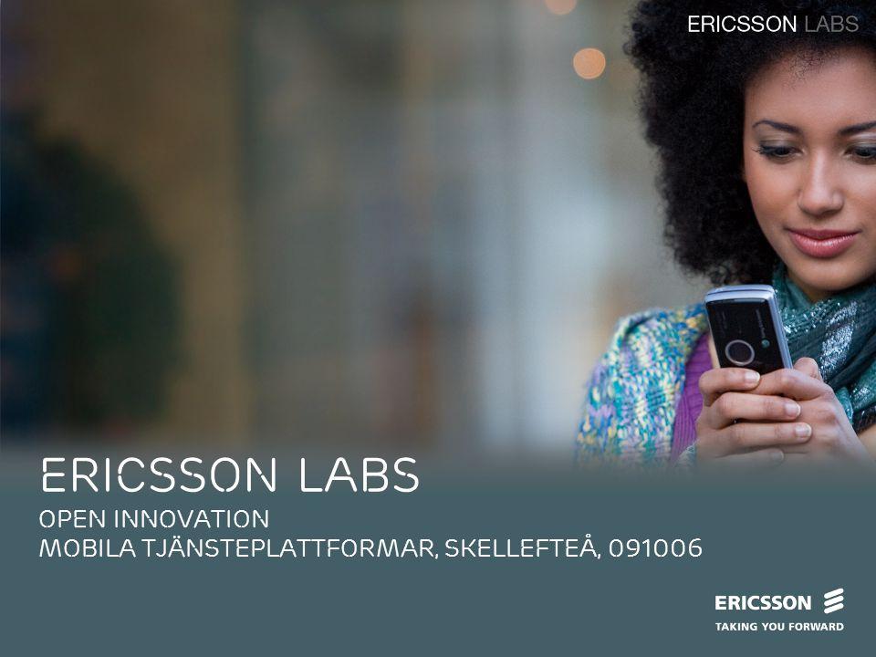 Slide title In CAPITALS 44 pt Slide subtitle 20 pt ERICSSON LABS open innovation mobila tjänsteplattformar, Skellefteå, 091006