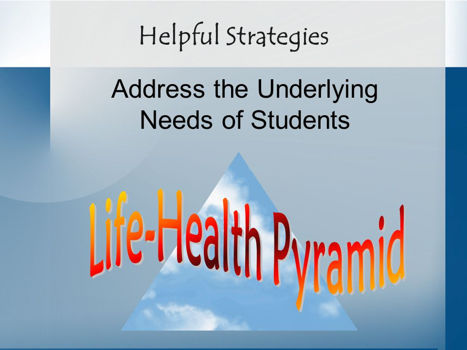 Helpful Strategies Address the Underlying Needs of Students