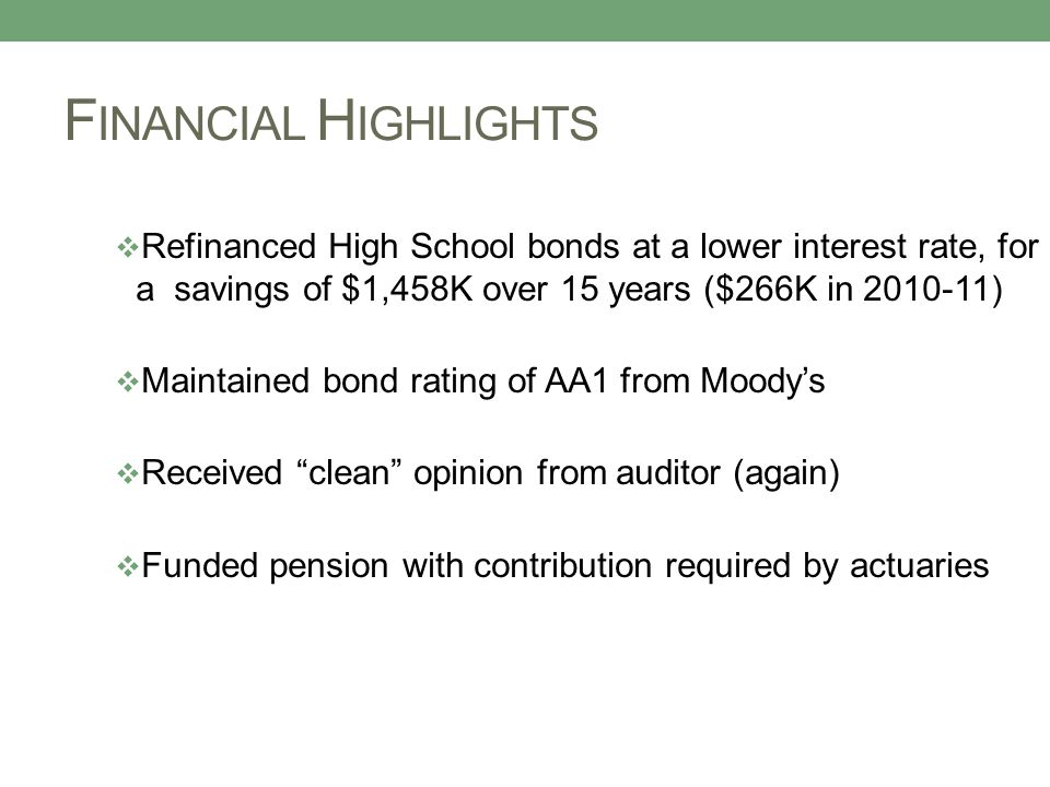F INANCIAL H IGHLIGHTS  Refinanced High School bonds at a lower interest rate, for a savings of $1,458K over 15 years ($266K in 2010-11)  Maintained bond rating of AA1 from Moody's  Received clean opinion from auditor (again)  Funded pension with contribution required by actuaries