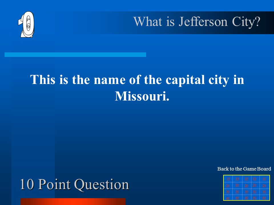 40 Point Question This is the postal abbreviation for the state east of Mississippi.