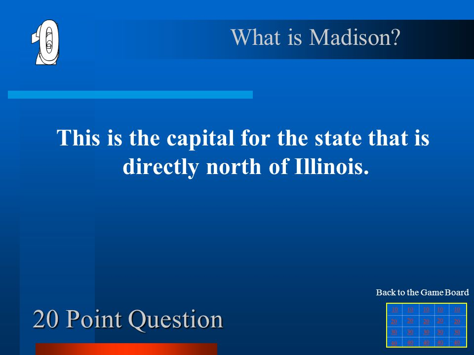 10 Point Question This is the name of the capital city in Missouri. What is Jefferson City? Back to the Game Board