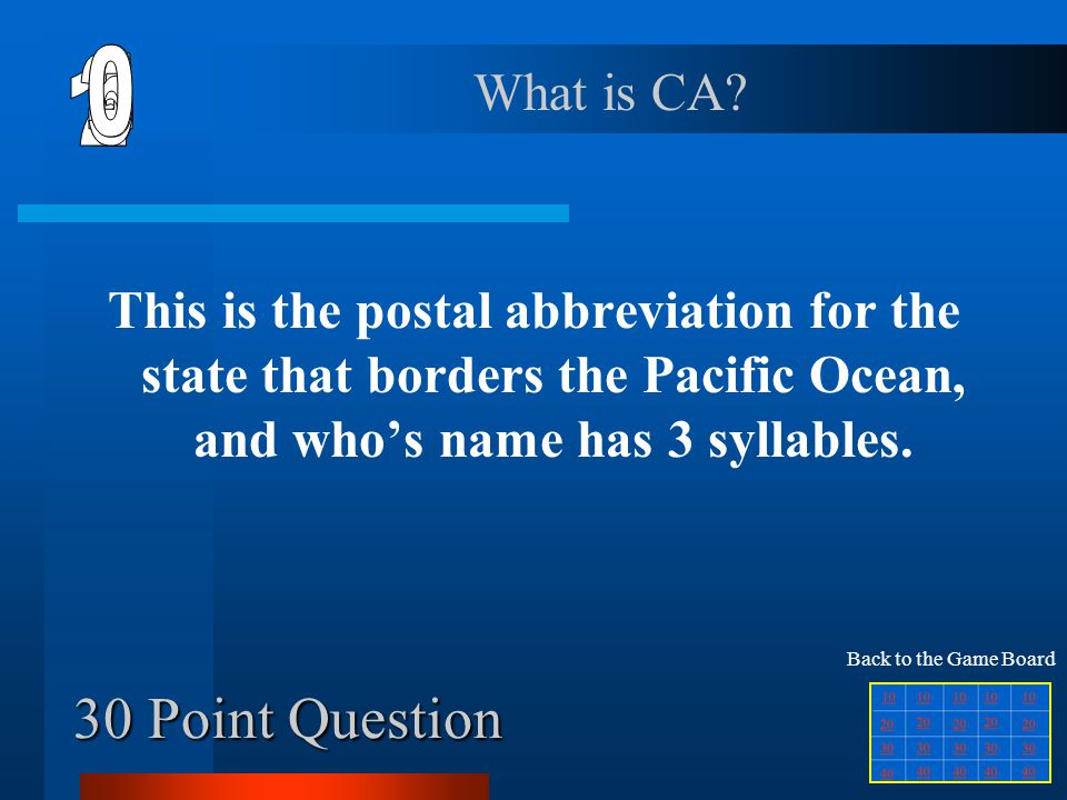 20 Point Question This is the name for the capital city of California. What is Sacramento? Back to the Game Board
