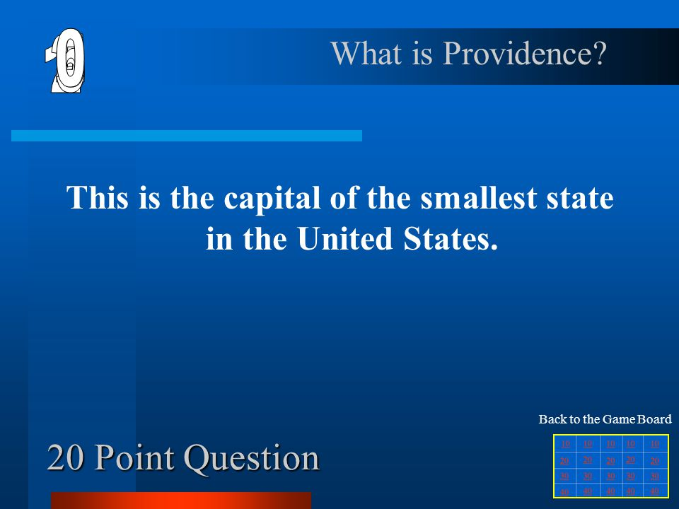 10 Point Question This is the capital of West Virginia. What is Charleston? Back to the Game Board