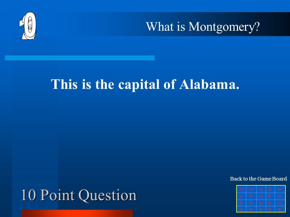 40 Point Question This is the capital for the state that is directly east of Maryland. What is Dover? Back to the Game Board