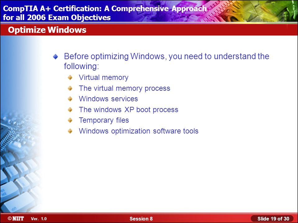Installing Windows XP Professional Using Attended Installation Slide 19 of 30Session 8 Ver.