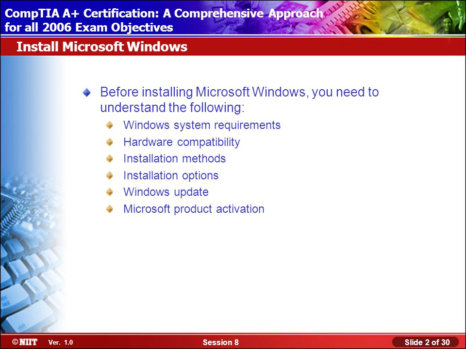 Installing Windows XP Professional Using Attended Installation Slide 2 of 30Session 8 Ver.