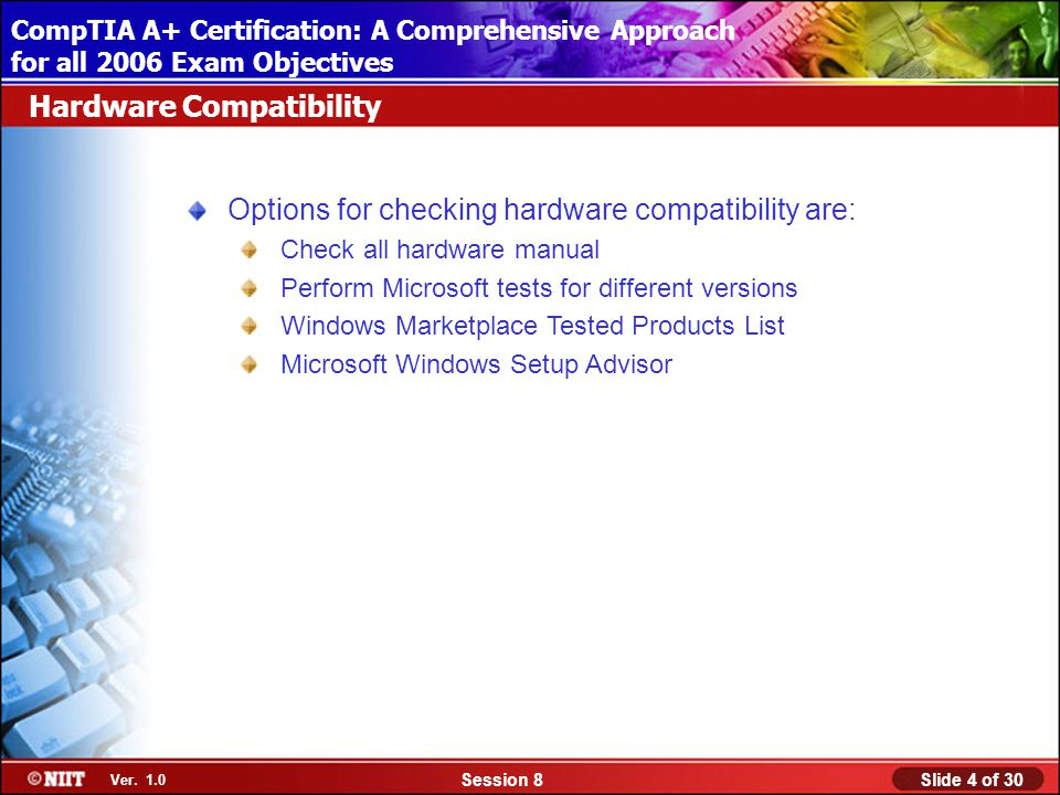 Installing Windows XP Professional Using Attended Installation Slide 4 of 30Session 8 Ver.