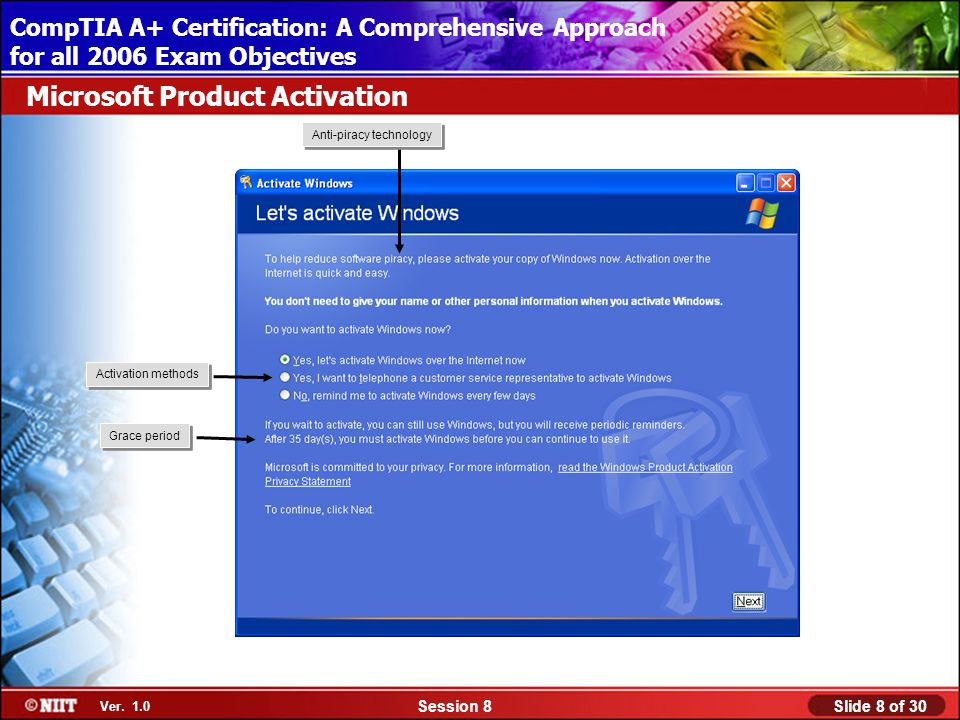 Installing Windows XP Professional Using Attended Installation Slide 8 of 30Session 8 Ver.