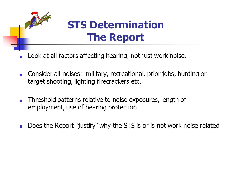 STS Determination The Report Look at all factors affecting hearing, not just work noise.