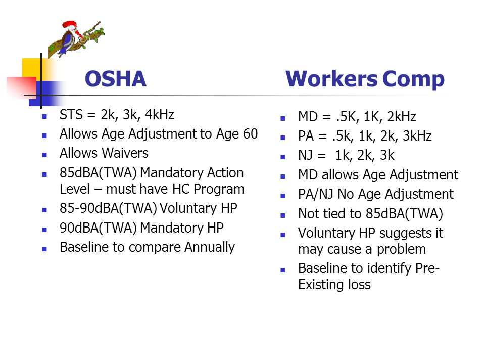 OSHA Workers Comp STS = 2k, 3k, 4kHz Allows Age Adjustment to Age 60 Allows Waivers 85dBA(TWA) Mandatory Action Level – must have HC Program 85-90dBA(TWA) Voluntary HP 90dBA(TWA) Mandatory HP Baseline to compare Annually MD =.5K, 1K, 2kHz PA =.5k, 1k, 2k, 3kHz NJ = 1k, 2k, 3k MD allows Age Adjustment PA/NJ No Age Adjustment Not tied to 85dBA(TWA) Voluntary HP suggests it may cause a problem Baseline to identify Pre- Existing loss
