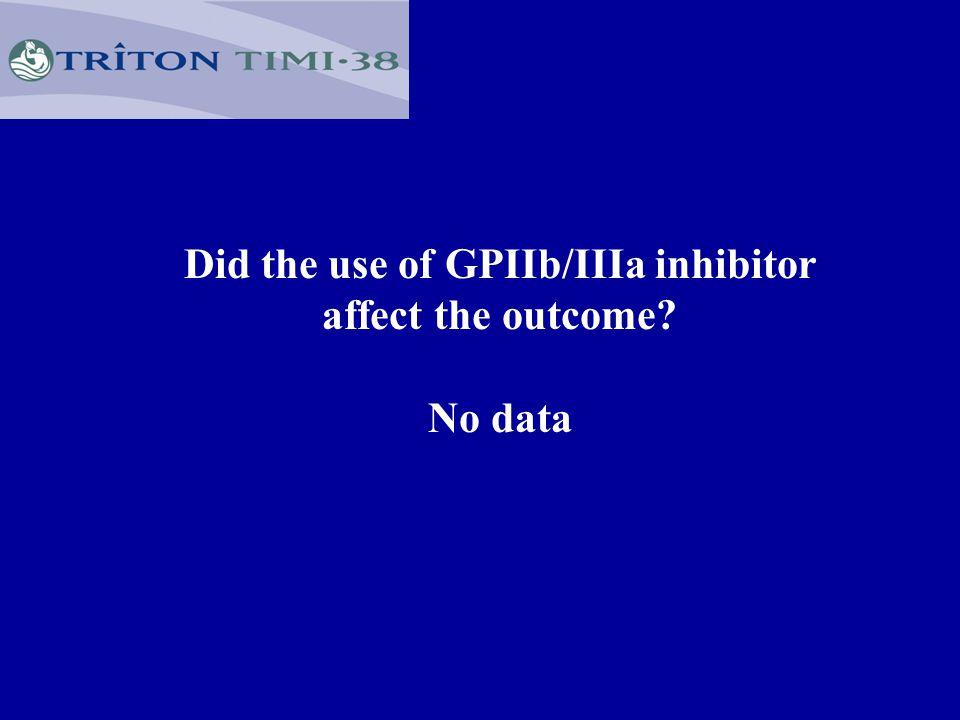 Did the use of GPIIb/IIIa inhibitor affect the outcome No data