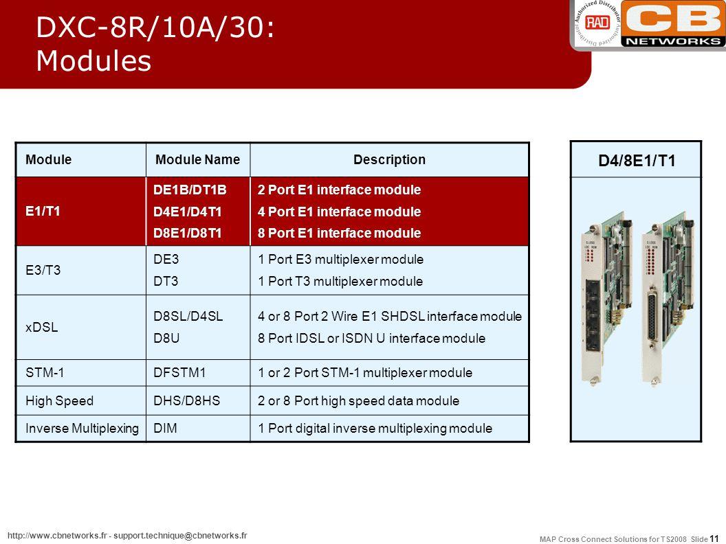 MAP Cross Connect Solutions for TS2008 Slide 11 http://www.cbnetworks.fr - support.technique@cbnetworks.fr DXC-8R/10A/30: Modules ModuleModule NameDescription E1/T1 DE1B/DT1B D4E1/D4T1 D8E1/D8T1 2 Port E1 interface module 4 Port E1 interface module 8 Port E1 interface module E3/T3 DE3 DT3 1 Port E3 multiplexer module 1 Port T3 multiplexer module xDSL D8SL/D4SL D8U 4 or 8 Port 2 Wire E1 SHDSL interface module 8 Port IDSL or ISDN U interface module STM-1DFSTM11 or 2 Port STM-1 multiplexer module High SpeedDHS/D8HS2 or 8 Port high speed data module Inverse MultiplexingDIM1 Port digital inverse multiplexing module D4/8E1/T1