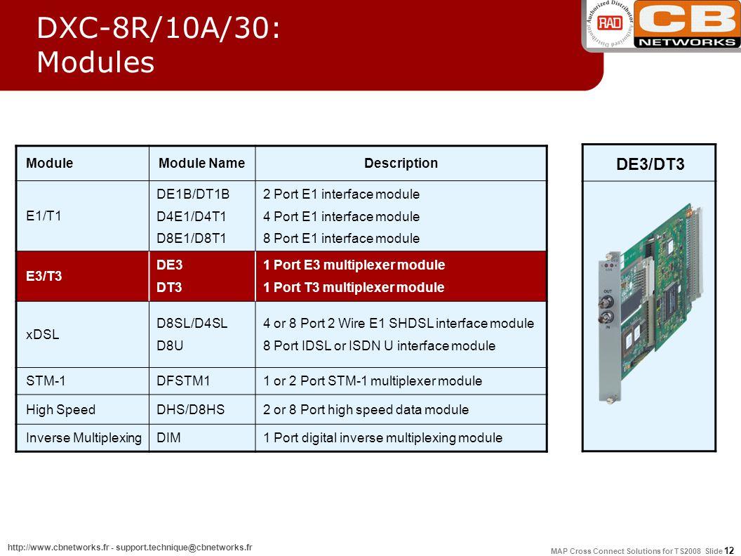 MAP Cross Connect Solutions for TS2008 Slide 12 http://www.cbnetworks.fr - support.technique@cbnetworks.fr ModuleModule NameDescription E1/T1 DE1B/DT1B D4E1/D4T1 D8E1/D8T1 2 Port E1 interface module 4 Port E1 interface module 8 Port E1 interface module E3/T3 DE3 DT3 1 Port E3 multiplexer module 1 Port T3 multiplexer module xDSL D8SL/D4SL D8U 4 or 8 Port 2 Wire E1 SHDSL interface module 8 Port IDSL or ISDN U interface module STM-1DFSTM11 or 2 Port STM-1 multiplexer module High SpeedDHS/D8HS2 or 8 Port high speed data module Inverse MultiplexingDIM1 Port digital inverse multiplexing module DE3/DT3 DXC-8R/10A/30: Modules