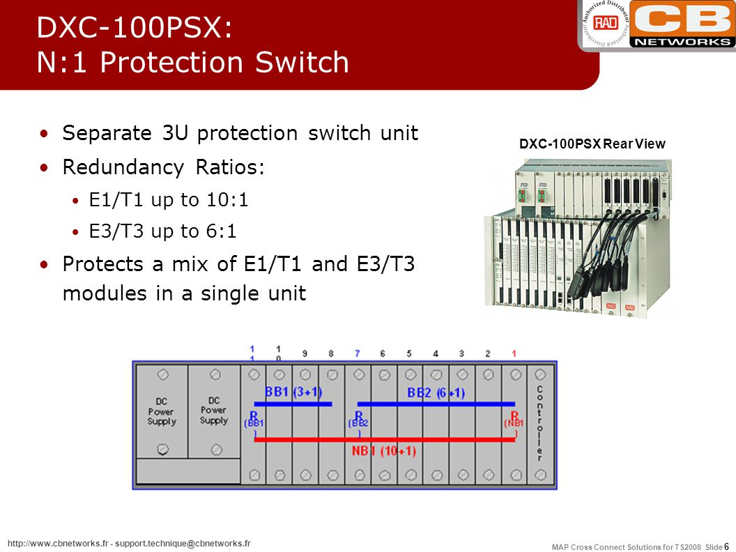 MAP Cross Connect Solutions for TS2008 Slide 6 http://www.cbnetworks.fr - support.technique@cbnetworks.fr DXC-100PSX: N:1 Protection Switch Separate 3U protection switch unit Redundancy Ratios: E1/T1 up to 10:1 E3/T3 up to 6:1 Protects a mix of E1/T1 and E3/T3 modules in a single unit DXC-100PSX Rear View