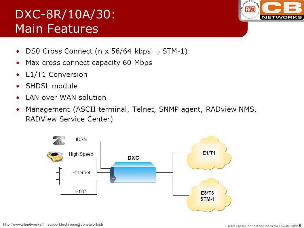 MAP Cross Connect Solutions for TS2008 Slide 9 http://www.cbnetworks.fr - support.technique@cbnetworks.fr DXC-8R/10A/30: Main Features DS0 Cross Connect (n x 56/64 kbps  STM-1) Max cross connect capacity 60 Mbps E1/T1 Conversion SHDSL module LAN over WAN solution Management (ASCII terminal, Telnet, SNMP agent, RADview NMS, RADView Service Center) DXC IDSN High Speed Ethernet E3/T3 STM-1 E1/T1