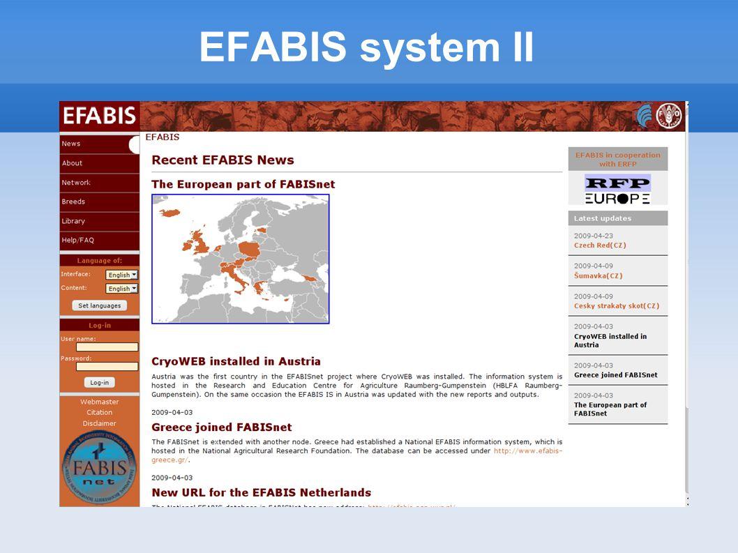 EFABIS system II