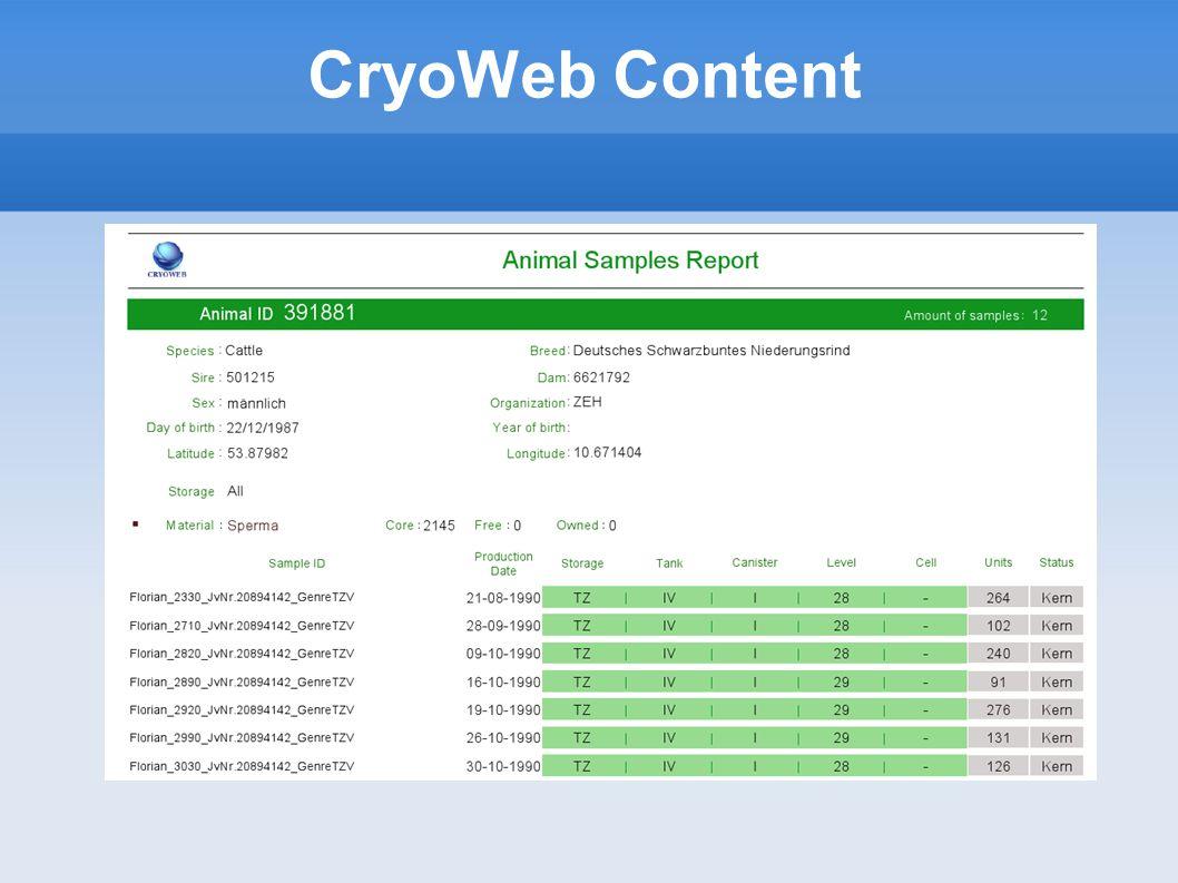 CryoWeb Content