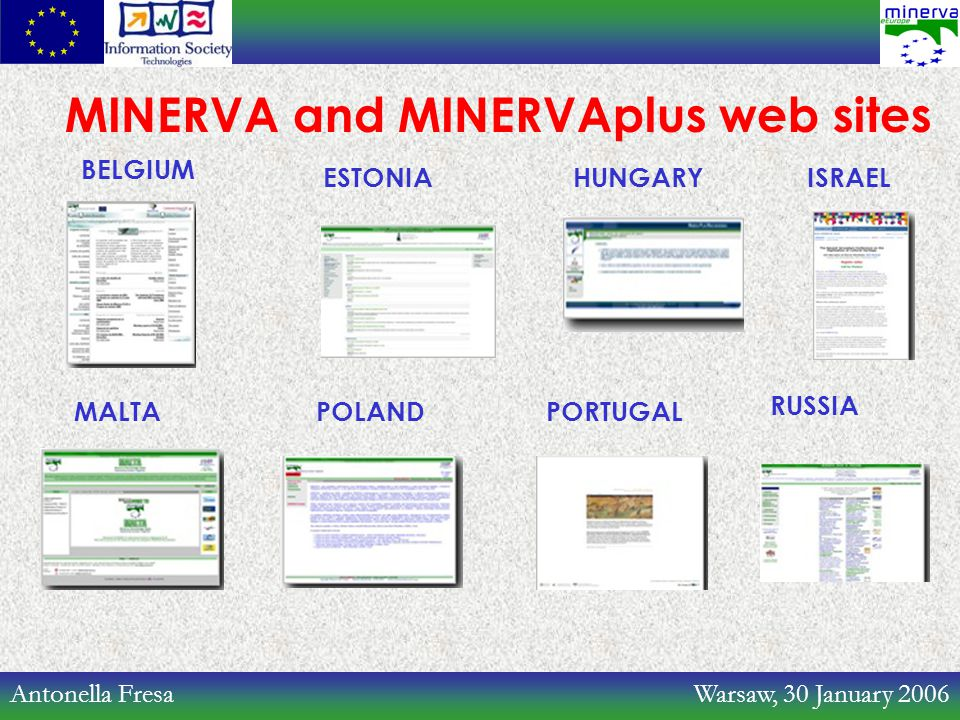 Antonella Fresa Warsaw, 30 January 2006 MINERVA and MINERVAplus web sites BELGIUM MALTA ESTONIA POLAND HUNGARYISRAEL RUSSIA PORTUGAL