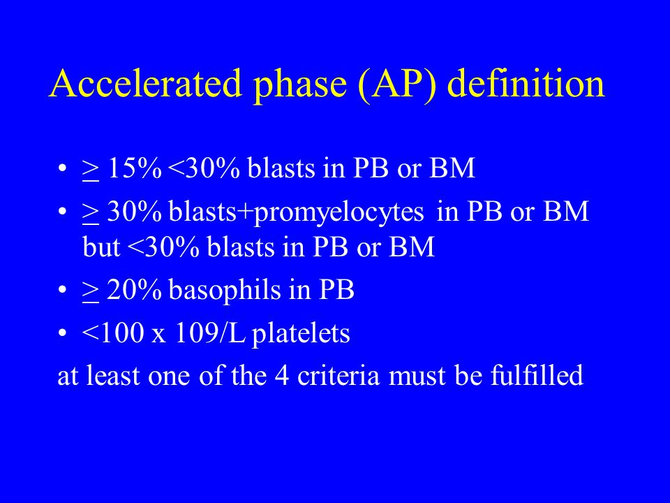 Accelerated phase (AP) definition > 15% <30% blasts in PB or BM > 30% blasts+promyelocytes in PB or BM but <30% blasts in PB or BM > 20% basophils in