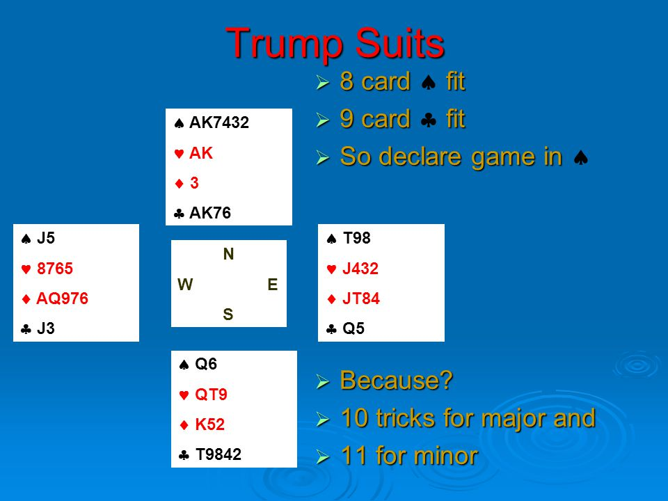 Trump Suits  8 card fit  8 card  fit  9 card fit  9 card  fit  So declare game in  So declare game in   Because.