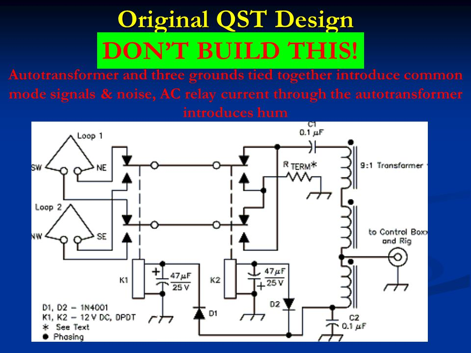 Original QST Design Autotransformer and three grounds tied together introduce common mode signals & noise, AC relay current through the autotransforme