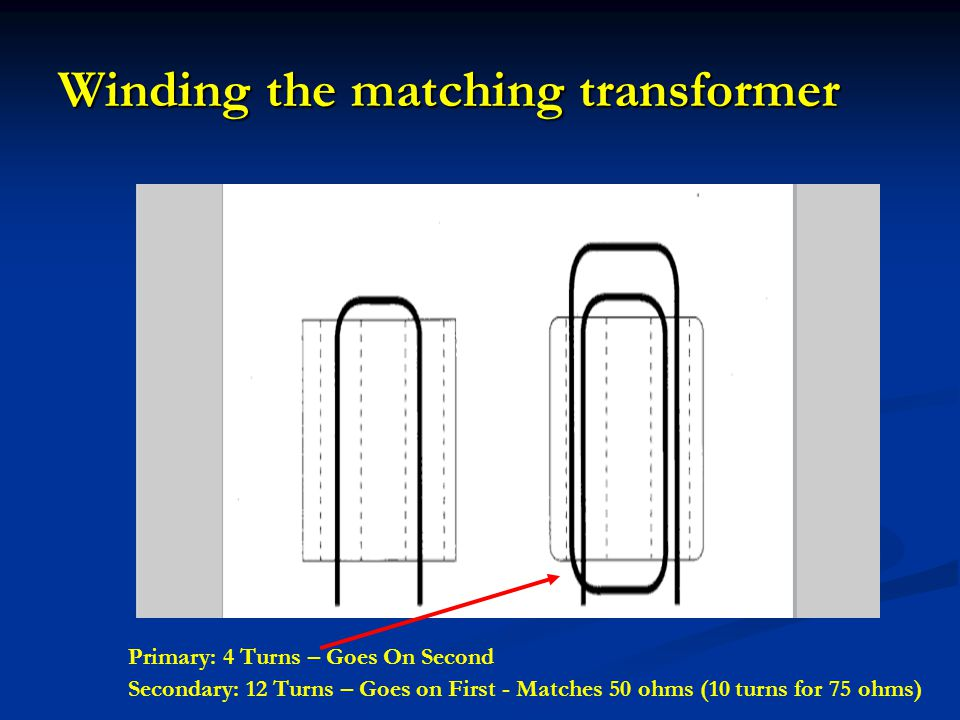 Winding the matching transformer Primary: 4 Turns – Goes On Second Secondary: 12 Turns – Goes on First - Matches 50 ohms (10 turns for 75 ohms)