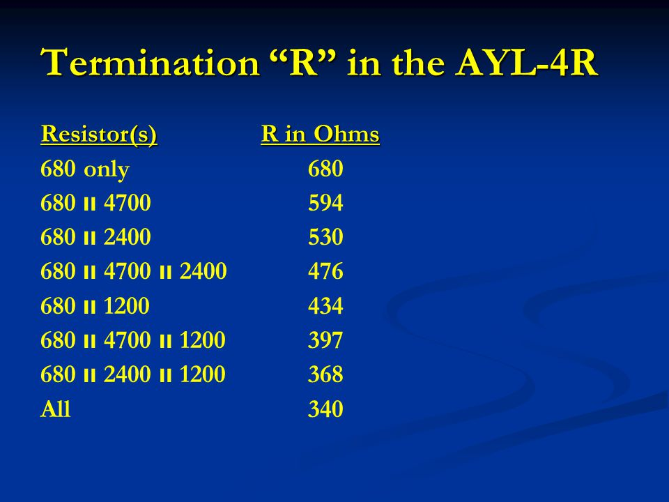 "Termination ""R"" in the AYL-4R Resistor(s) R in Ohms 680 only680 680 װ 4700594 680 װ 2400530 680 װ 4700 װ 2400476 680 װ 1200434 680 װ 4700 װ 1200397 68"
