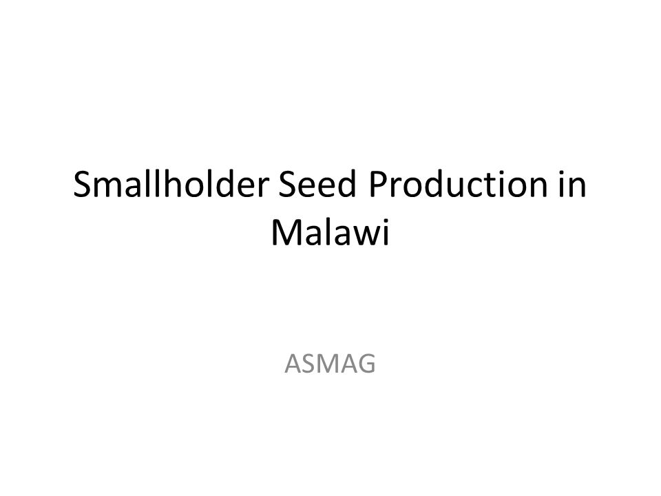 Smallholder Seed Production in Malawi ASMAG