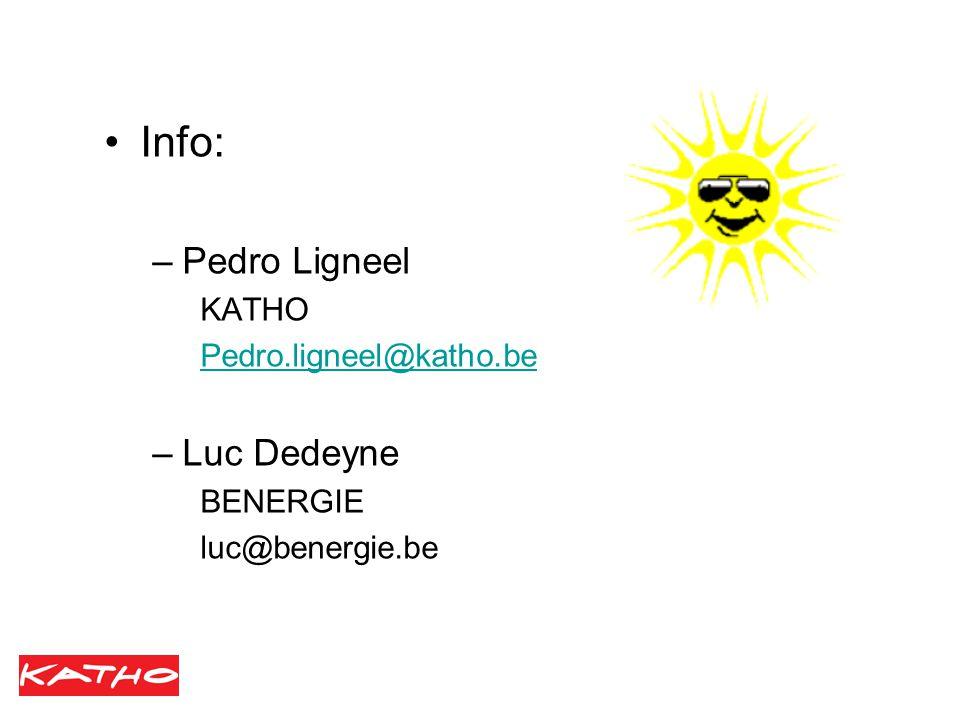 Info: –Pedro Ligneel KATHO Pedro.ligneel@katho.be –Luc Dedeyne BENERGIE luc@benergie.be