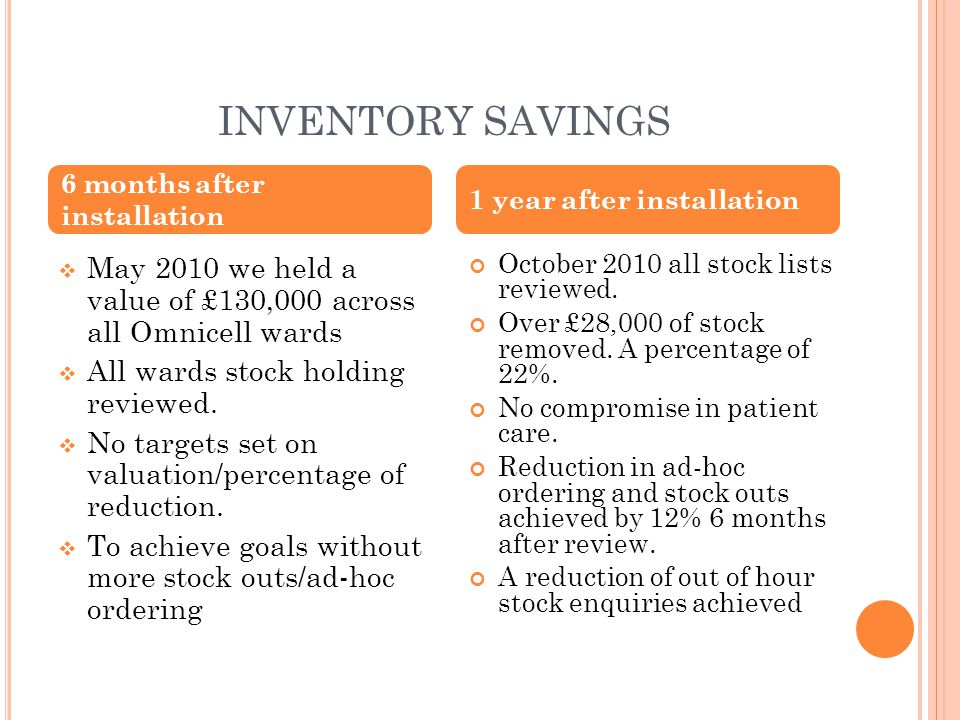 INVENTORY SAVINGS  May 2010 we held a value of £130,000 across all Omnicell wards  All wards stock holding reviewed.